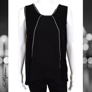 LES COPAINS Blk/Wht Piping Sleeveless